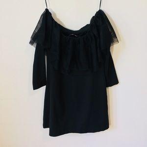 Black Zara off-the-shoulder tulle accent LBD!